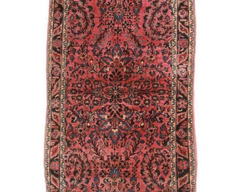 """RugsinDallas Antique Persian Sarouk Rug - 3'4"""" X 5' Blue, Red  # 14124"""
