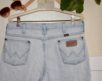 "Vintage 70's 80's High Waisted Perfect Light Blue Wash Distressed Wrangle Denim Jeans 36"" Waist"