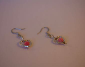 Silver Earrings with Pink Coral Beads