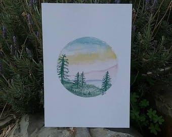 Mountain landscape -Print A4, Pine trees, Watercolour Art, Circle Mountain Art