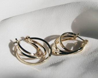 Multi hoop hoops, gold hoop earrings, small hoops