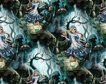Zombie Alice one yard brushed poly fabric
