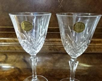 Pair of Beautiful Wine Glasses/Garanti Crystal/French Crystal/Vintage/1970s