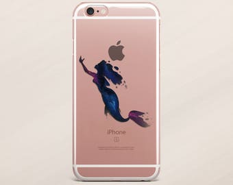 Mermaid Case iPhone 6 Case Disney iPhone 7 Case iPhone 6 Plus Case Samsung Galaxy S7 Transparent Case iPhone 5s Case Galaxy S8 Aquarell Case