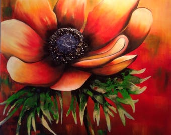 Fire! canvas Gallery 30/36, acrylic and oil, flower, mixed media, contemporary, timeless, Orange, by Anne.