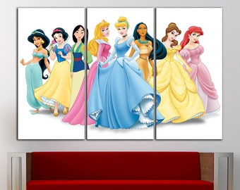 Disney Princess Wall Decor disney princess wall art | etsy