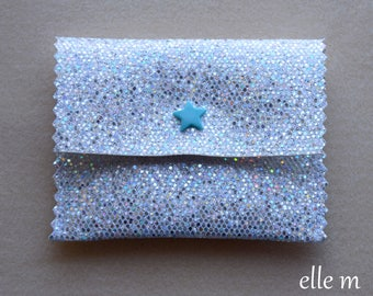 Mini pouch case in white with turquoise star snap silver sequin fabric