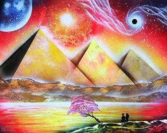 Magic pyramids Spray paint art Original abstract Acrylic painting Large Wall art on canvas Modern Art Abstract Painting Egyptian art Orange