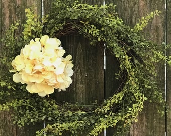 Hydrangea Wreath-Spring Wreath-Front Door Wreath-Grass Wreath-Everyday Wreath-Farmhouse Decor-Grapevine Wreath-Rustic Wreath-Greenery Wreath