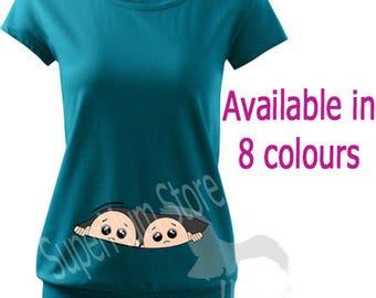 Maternity Pregnancy Funny T-shirt Top Baby Shower PEEK-A-BOO Gift Peeking Twins Boys
