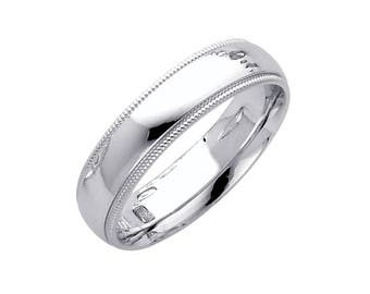 14K Solid White Gold Comfort Fit Milgrain Wedding Band Ring 5.0mm Size 4-12 - Polished
