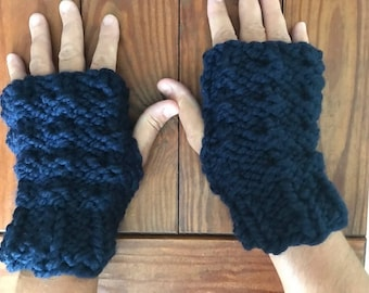 Hand Knit Fingerless Gloves, Soft Wool Dark Blue Fingerless Mitts, Indoor and outdoor hand warmer gloves