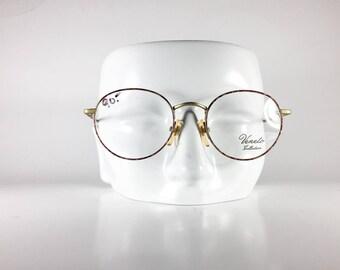 VENETO Vintage Eyeglasses Unisex Gold Metal Round 1990s VENF604Q-1