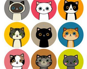Stickers 2 sheets set labels 18 Cats/Cats