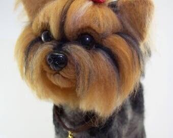 Cute York needle felted, dog, gift