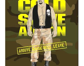 WWE Black Label Stone Cold Steve Austin Official Art Print (A3 Size)