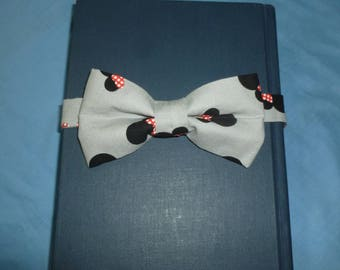 minnie mouse heads bow tie with 5 inch bow and adjustable hooked bow tie. youth tie, grey bow tie. pre tied bow tie. hooked band bow tie.