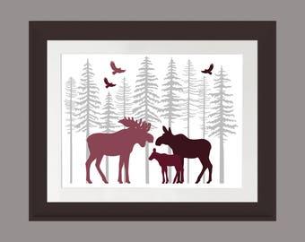 Burgundy Moose Wall Art, Nature Print, Moose Family Art Print, Rustic Cabin Art, Lodge Art Print, Moose Art Print, Fir Trees, Rustic Moose