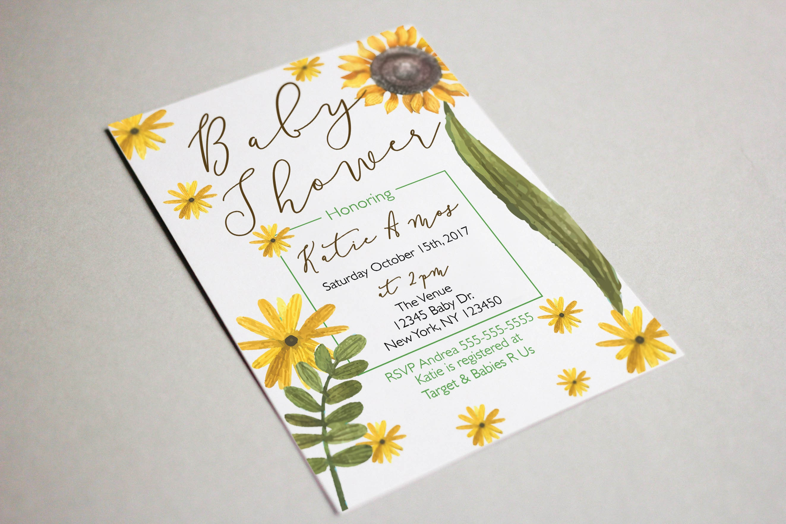 Sunflower Baby Shower Invitation Flower Theme Printable PDF and JPEG ...