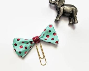 Red Polka-Dot Bow Ribbon Planner Clip