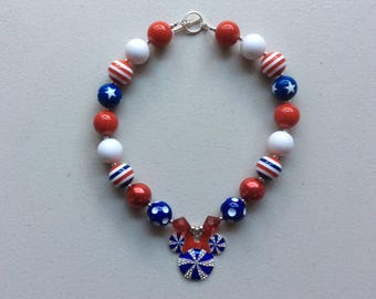Minnie Mouse Red, White, and Blue, 4th of July Chunky Bead Necklace, Girls Bubblegum Beads