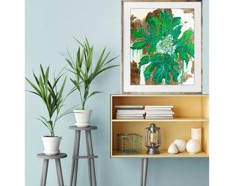 Oak Hydrangea, giclee art print, floral art, tropical art, gold art print, green leaf art print, original leaf painting, modern interior art