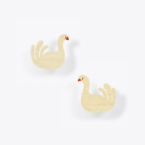Modern Birch Swan Stud Earrings