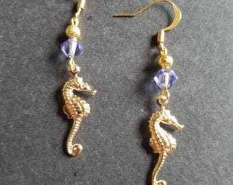 Gold Seahorse Dangles