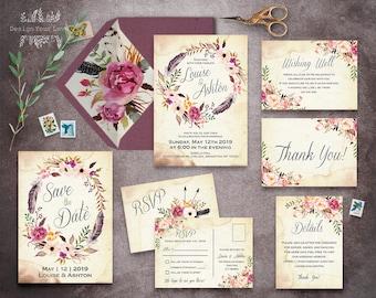 floral wedding invitation set printable boho wedding invitation suite vintage romantic wedding bohemian wedding watercolor floral wreath BSP