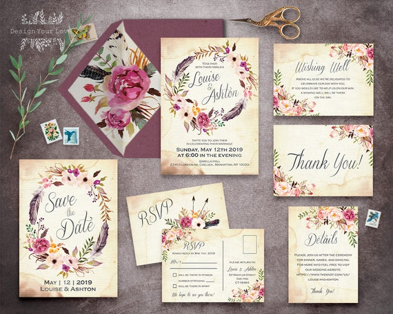 Printable Wedding Invitation Sets
