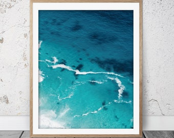Coastal Wall Art, Ocean Art Print, Turquoise, Blue, Beach Art, Nautical Print, Nautical Decor, Ocean Waves, Ocean Printable, Digital, FM-135