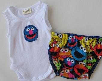 Size 0000 GROVER - SESAME STREET Onsie/romper & Nappy/Diaper Cover Newborn BabyShower Gift Set