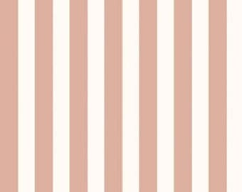 """Rose Gold and Off White Stripe Fabric - Riley Blake Designs 7/8"""" Stripe -  Metallic Stripe Fabric -  Rose Gold Fabric"""