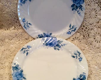 Corelle Blue Velvet rose plates, (3)