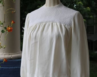 60s Ivory Blouse with Detailed Yolk
