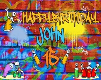 Large custom graffiti Banner, Birthday Banner, graffiti Decorations, hip hop party, Graffiti Brick Party, 90s party, Spray Paint ; 1400082
