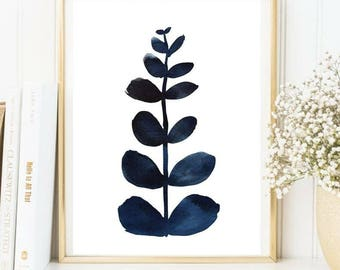 Navy blue leaf print