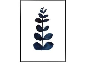 Navy blue leaf print