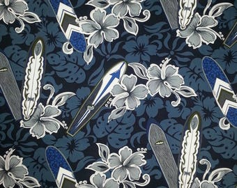 Men's Hawaiian Shirt Blue Gray Surfboards, Aloha Shirts for Men, Cotton Hawaiian Shirt