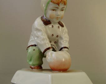Large,Vintage,Hungarian, ZSOLNAY porcelain child w.ball ,handpainted stamped