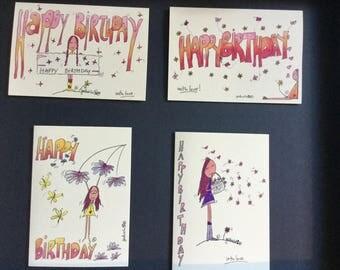 Birthday cards with an original gaBriela® design // Unique Greetings Cards // Birthday  design // Birthday card