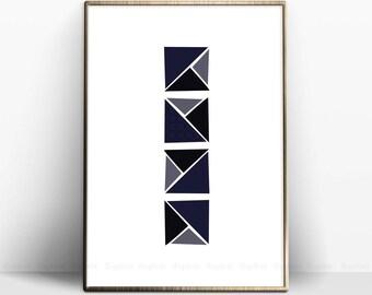 Navy Blue Printable, Geometric Square Art, Dark Blue Home Decor, Modern Print Poster, Navy Blue Square, Geometric Art, Geometric Home Decor.