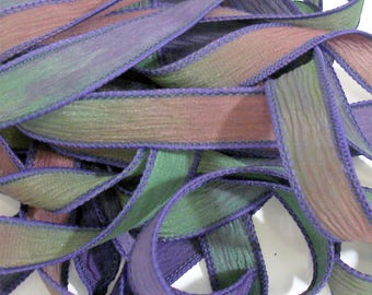 "5PC. WIPE OUT 42"" hand dyed wrist wrap bracelet silk ribbon//Yoga wrist wrap bracelet ribbons//Hand dyed Boho Silk wrist wrap ribbon"
