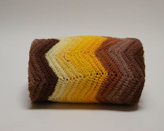 1970s Afghan ⎮ Vintage Crocheted Afghan ⎮ Brown And Yellow Chevron Blanket