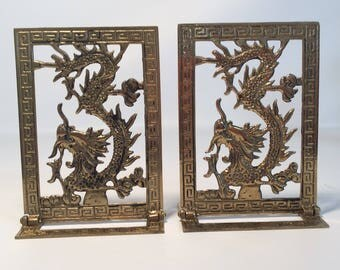 Vintage Brass Dragon Bookends
