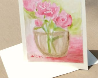 Peonies painting, watercolor peonies, all occasion cards, Blank Greeting cards, handmade cards, Peonies wall art, original watercolor, Cards