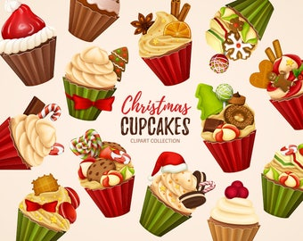 Christmas cupcakes clipart. Christmas sweets and cakes clip art collection. Holiday clipart. Digital vector art.