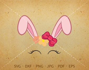 Bow Bunny Svg, Eyelash Bunny Face SVG, Rabbit Birthday Svg Silhouette Cricut Cut Files  (svg, dxf, eps, png, jpg, pdf)