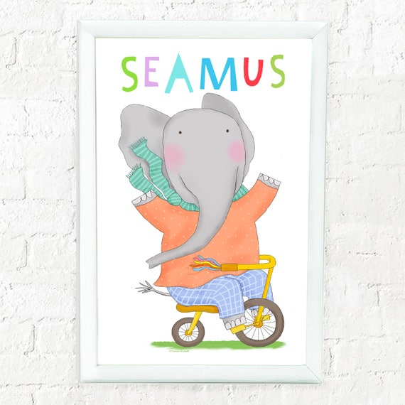 Personalized whimsical elephant print for child, elephant on bike, custom art for kids, baby shower gift, kid's decor, cute elephant print