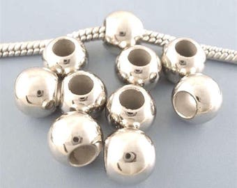 20 accessory beads for Bracelet 9 mm smooth round